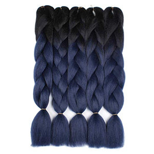 "(24"") 1B/Blue - 5 Piece Jumbo Braiding Hair"