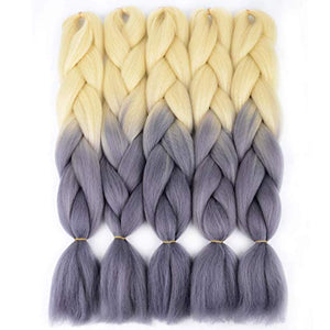 "(24"") Jumbo Blonde 613 and Gray, 5pc Jumbo Braiding Hair"