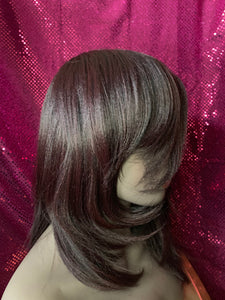 Sheena Wine & Black Human Blend Wig