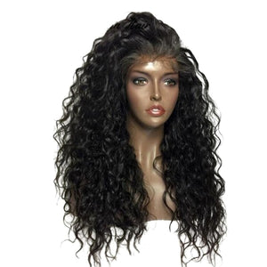 Loose Curly Glueless Lace Front Human Blend Wig w/ Pre-Plucked Baby Hairs