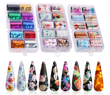 Load image into Gallery viewer, 30 Color Nail Foil Transfer Stickers, Holographic Flower Nail Art Stickers, Tips Wraps Foil Transfer Adhesive DIY Nail Decoration.