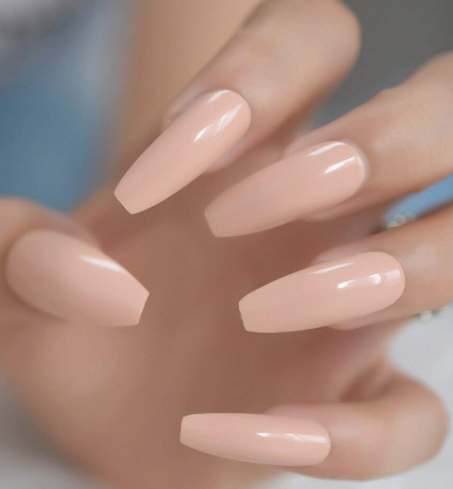 24pcs Ballerina Coffin Full Cover Press On Nails in Natural Nude Pink