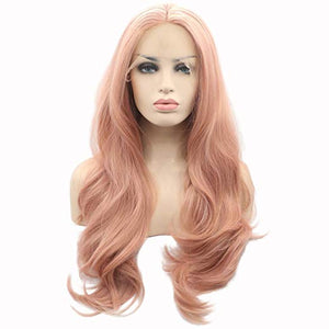 "22"" Pink Lace Front Wavy Mix Blend Wig"