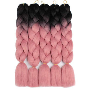 "(24"") 1B/Pink, 5pc Jumbo Braiding Hair"