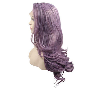 "22"" Purple Lace Front Wavy Mix Blend Wig"