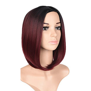 "Black & Burgundy Ombre Short Bob Wig 12"" Synthetic Wig"