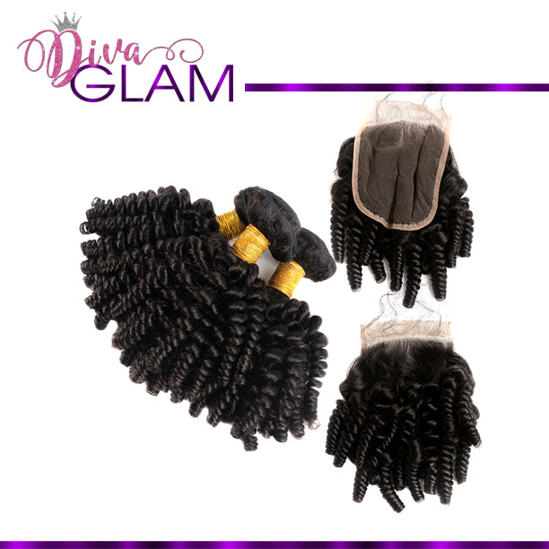 Diva Glam Bouncy Curly Bundle Deal w/Closure