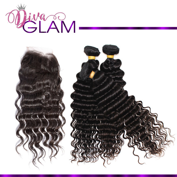 Diva Glam Deep Wave Bundle Deal w/Closure