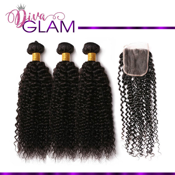 Diva Glam Jerry Curl Bundle Deal w/Closure