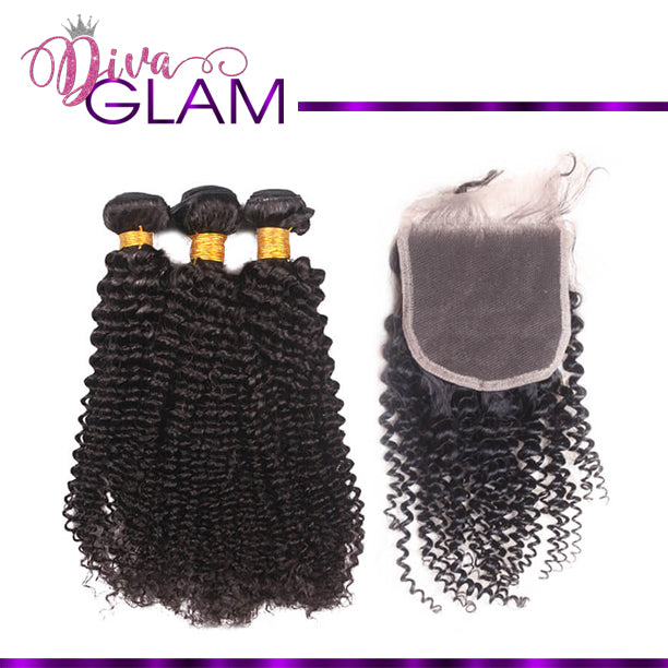 Diva Glam Kinky Curly Bundle Deal w/Closure