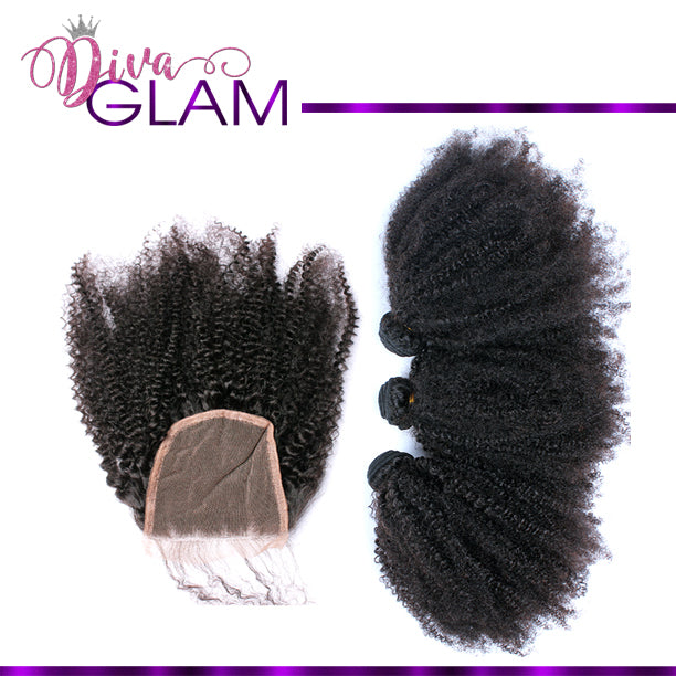 Diva Glam Afro Kinky Curly Bundle Deal w/Closure