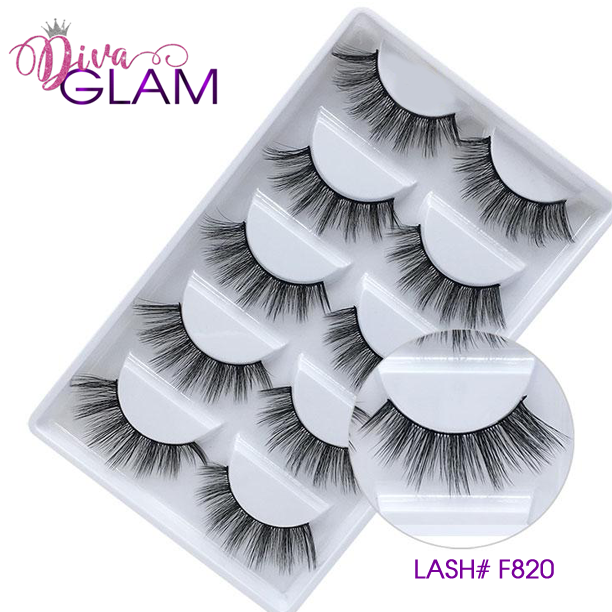 3D Mink Natural Lashes: 5 Pairs F820
