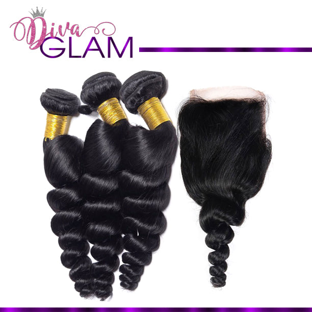 Diva Glam Loose Wave Bundle Deal w/Closure