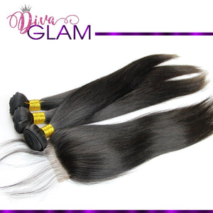 Diva Glam Silky Straight Bundle Deal w/Closure