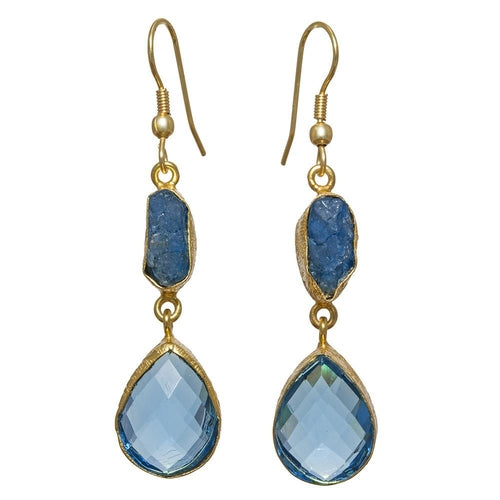 Gold-overlay Aqua & Blue Glass Earrings