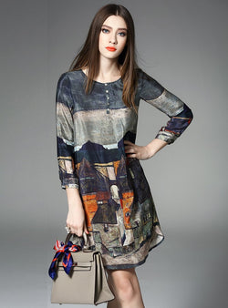 Landscape Printed O-Neck Silk Shift Dress