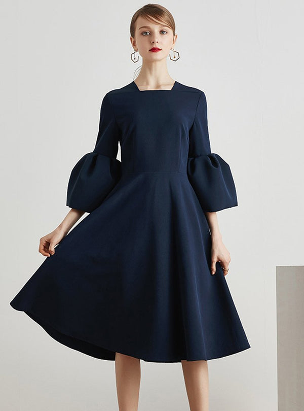 Pure Color Flare Sleeve Midi Dress