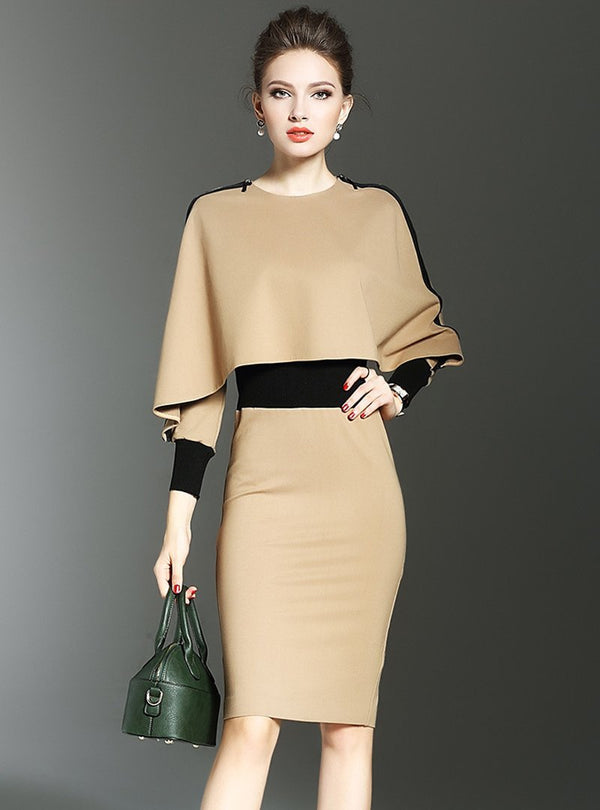 Camel Bat Sleeve Bodycon Dress