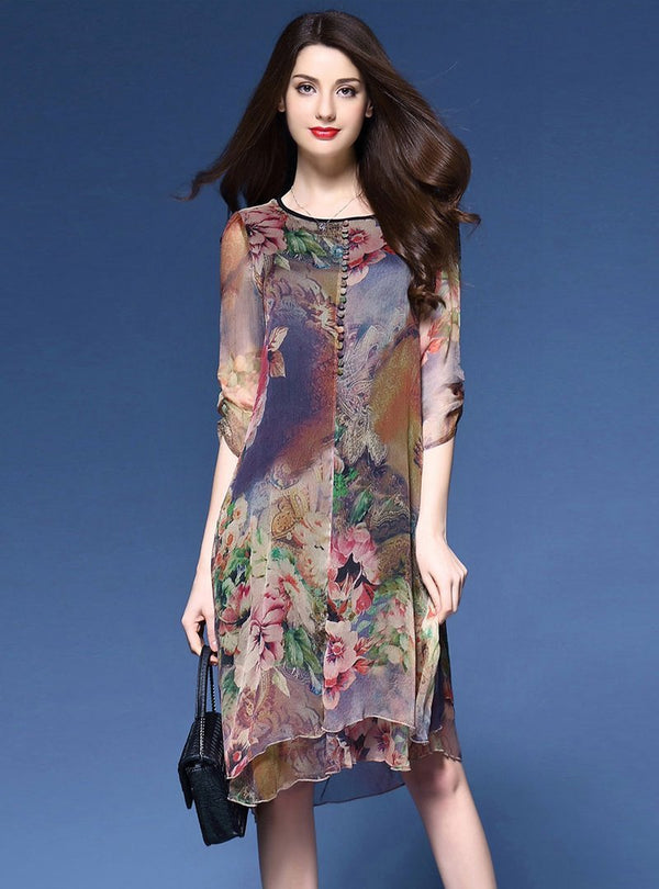 Multi Printed Half Sleeve Shift Dress