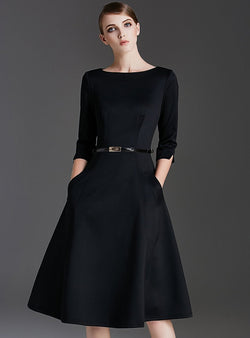 Pure Color O-neck Half Sleeve Midi Dress