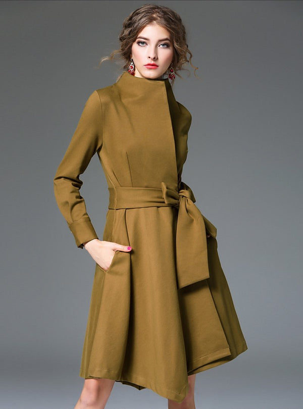 Pure Color Irregular Belted Midi Dress