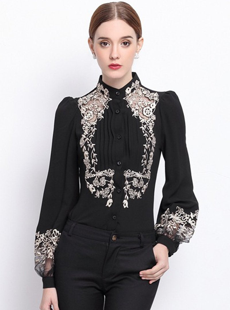 Embroidered Floral Stand Collar Blouse