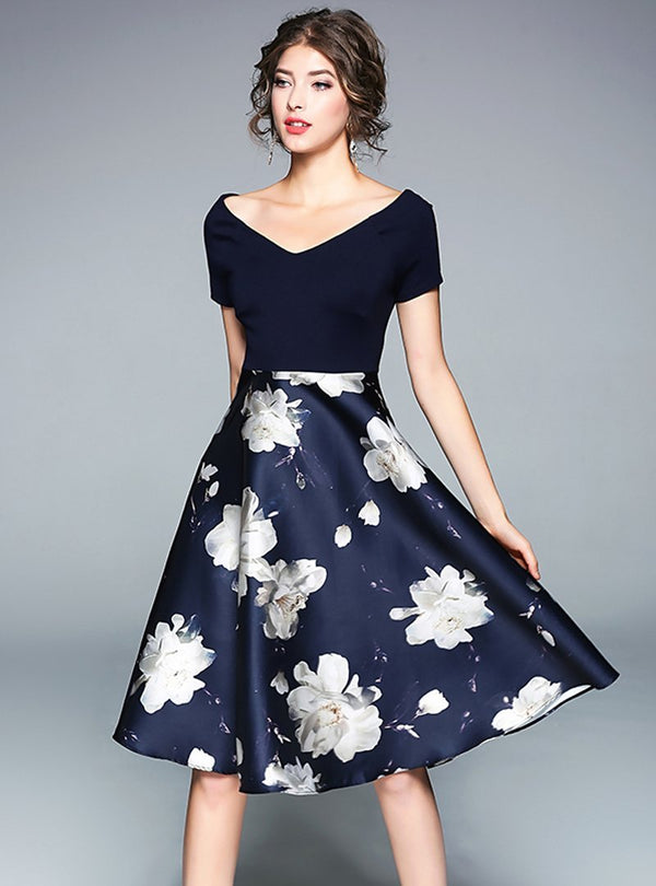 Dark Blue Floral Printed V-neck Midi Dress