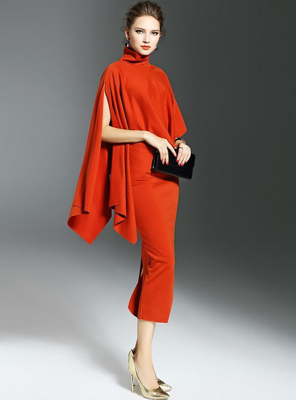 Orange Two Piece Asymmetric High Neck Dress