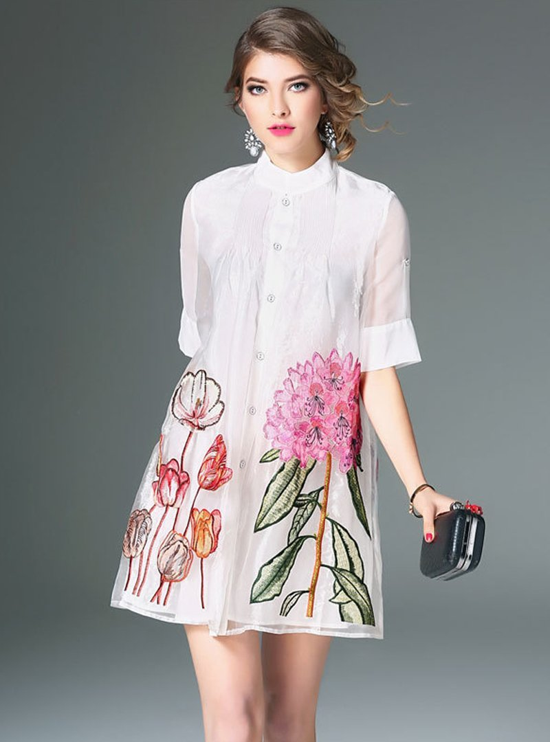 White Embroidered Floral Shirt Mini Dress