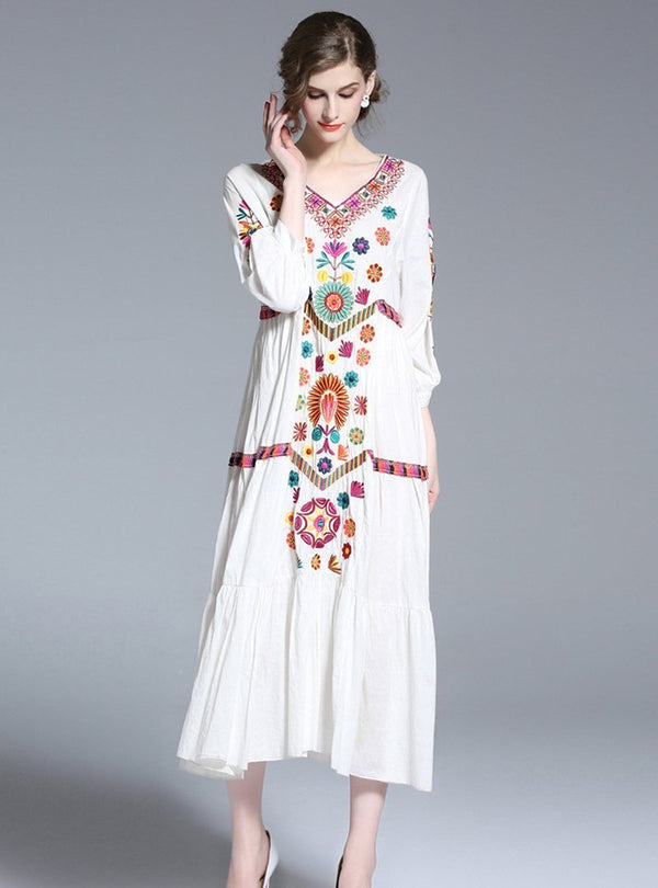 V-neck Embroidered Swing Maxi Dress