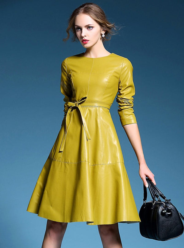 Pure Color Leather Bow Tied Midi Dress