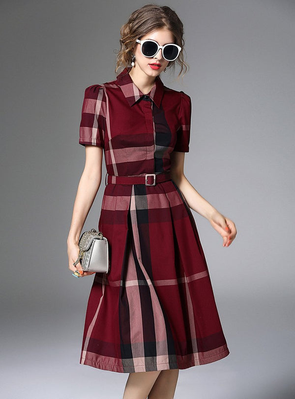 Red Grid Print Belted Midi Dress