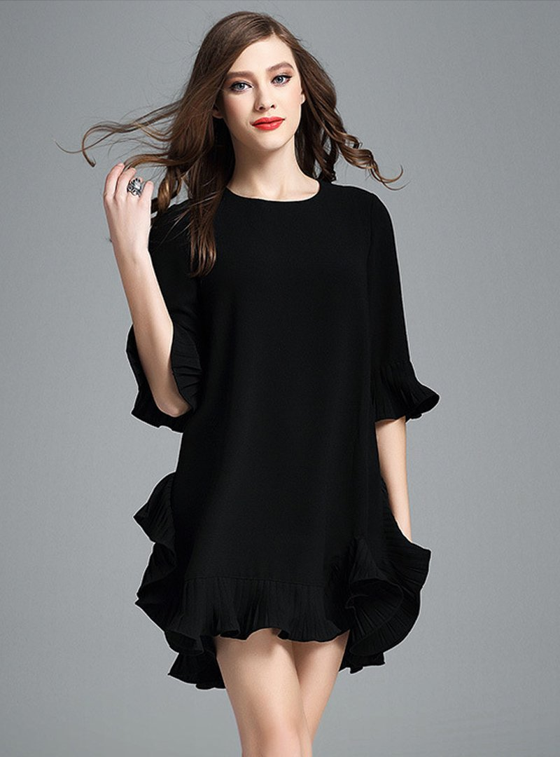 Pure Color Loose Falbala Mini Dress