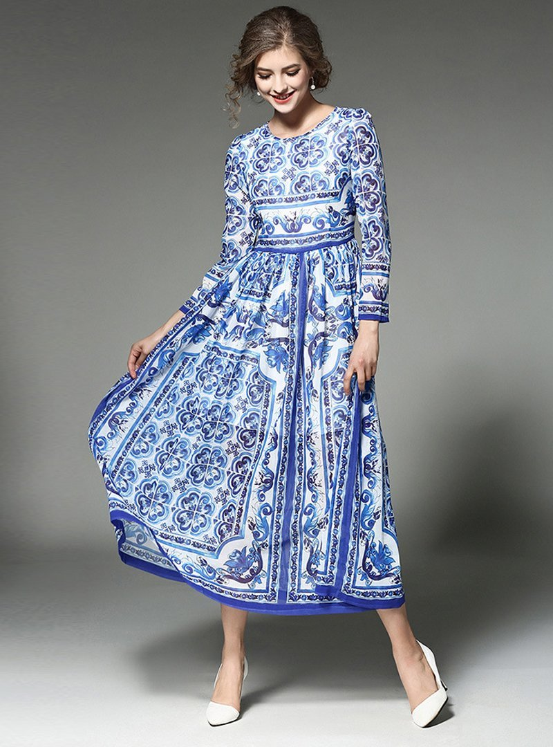 Blue Floral Printed O-Neck Maxi Dress