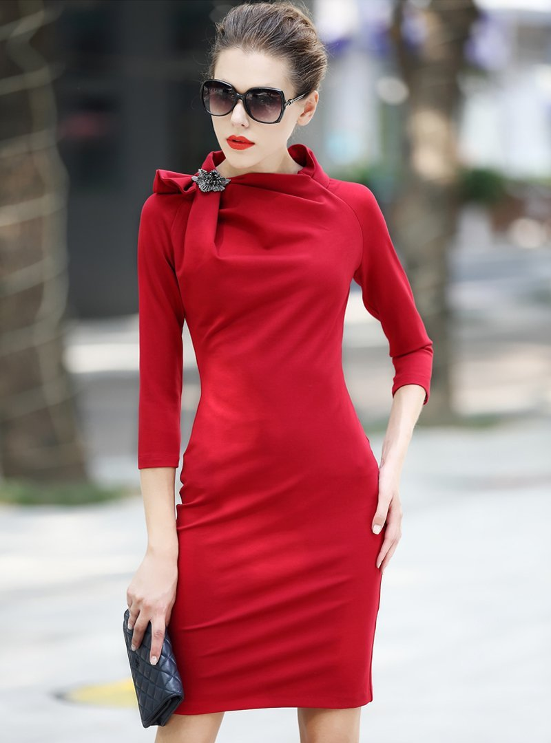 Pure Color Roman Cotton Bodycon Dress