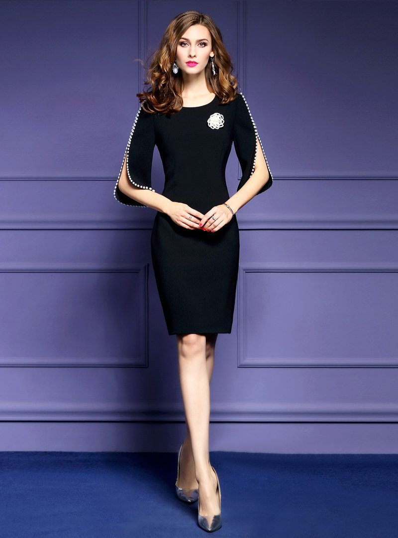 Black Beading Half Sleeve Bodycon Dress