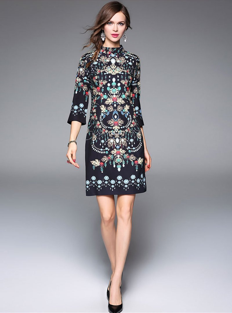Embroidered Floral Stand Collar Mini Dress