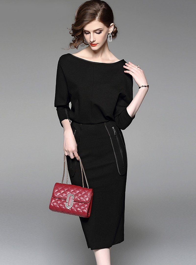 Slim Asymmetric Bat Sleeve Bodycon Dress