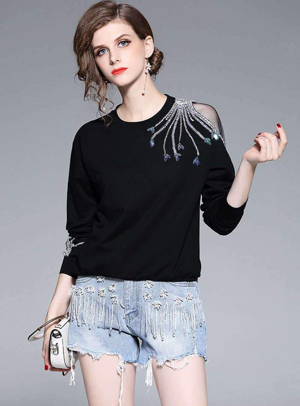Black Round-Neck Diamond-Studded Blouse