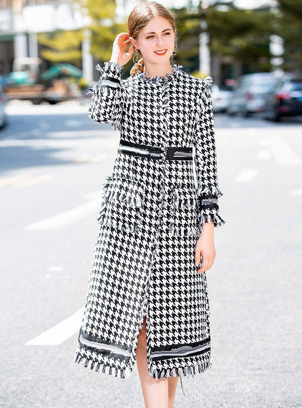 Black & White Gride Printed Coat