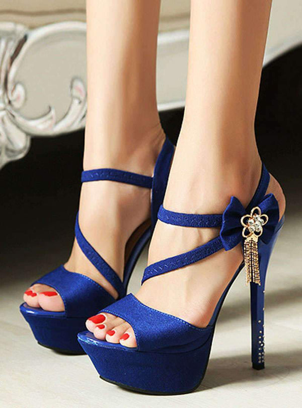 High Heel Bowknot Metal Chain Sandals