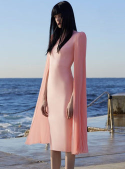 Pink Batwing Cinched Plain Bodycon Dress