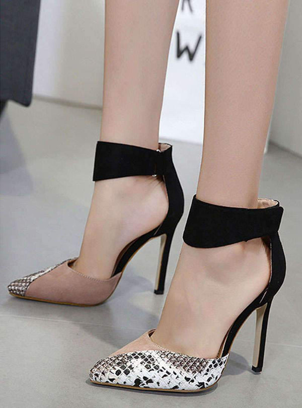 Matching Color Pointed Toe Stiletto Heels