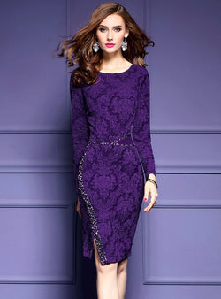 Purple Glitter O-Neck Bodycon Dress