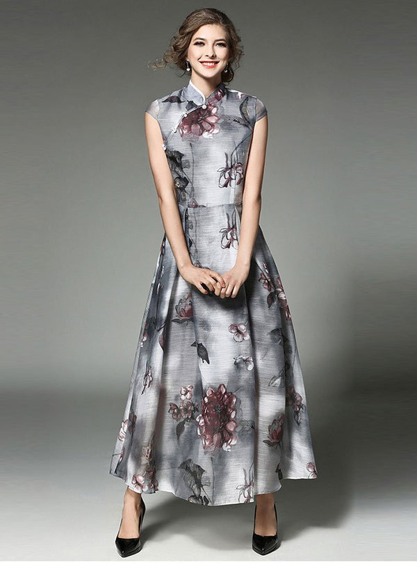 Grey Floral Printed Mandarin Maxi Dress