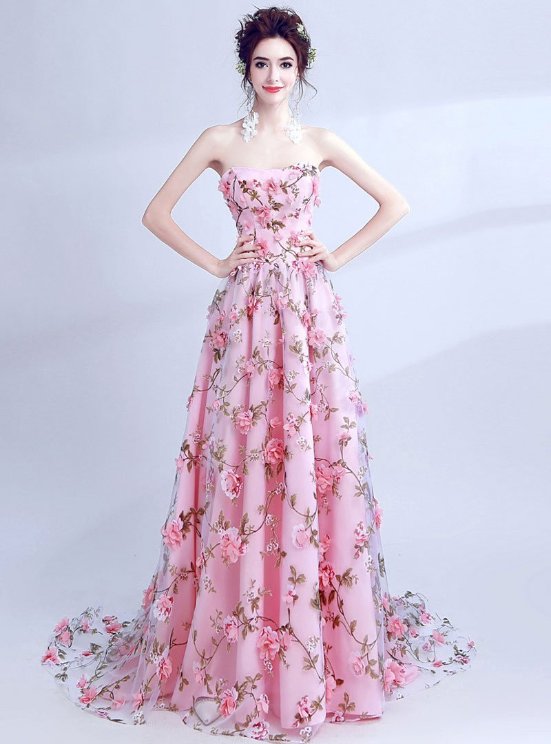 Pink Floral Printed Evening Dress