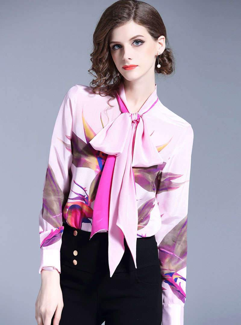 Pink Floral Printed Bow Neck Blouse