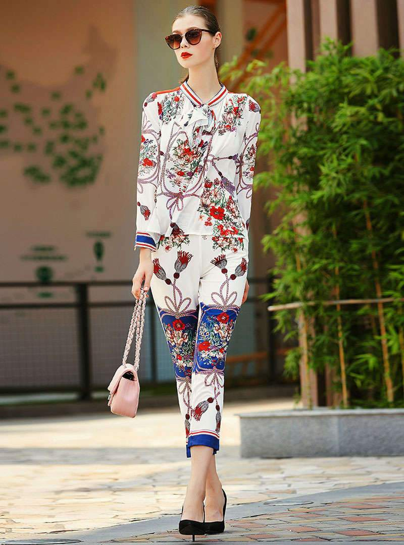 Floral Printed Bow Neck Two Piece Outfits