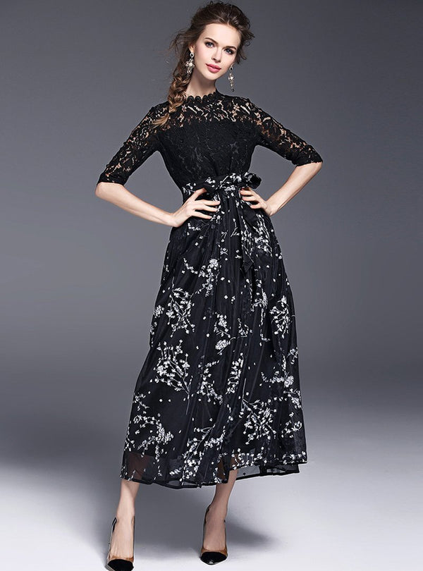 Black Lace Floral Printed Maxi Dress