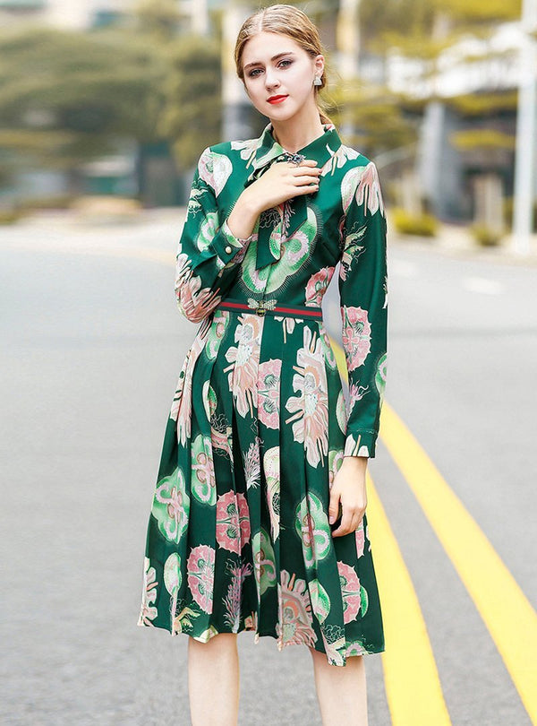 Green Floral Printed Long Sleeve Midi Dress